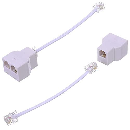 전화 잭 스플리터 VCALL 전화선 분배기 RJ11 스플리터 전화 코드 분배기 전화선 분배기 RJ11 6P4C 남성 2 웨이 여성 소켓 전화 확장 케이블 (2 개 흰색)