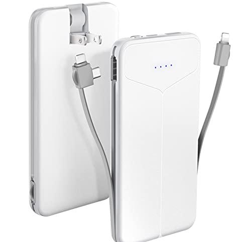【折畳みプラグイン】モバイルバッテリー 大容量 10000mAh 2ケーブル内蔵 (iphoned対応& type-c/micro USBケーブル内蔵)AC コンセント type-c入力ポート コンパクト 持ち運び スマホ 充電器 急速充電 軽量 薄型 iPhone&iPad&Android各種対応 (白)