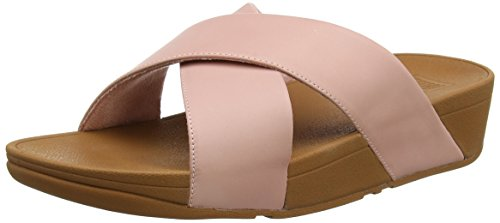 FitFlop Lulu Cross Slide-Leather, Sandalias con Plataforma para Mujer