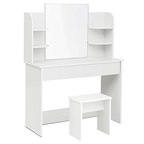Mondeer - Coiffeuse - avec Miroir et Tabouret, Moderne, Grand Tiroir, 6 Étagères, 108x40x142cm Blanc