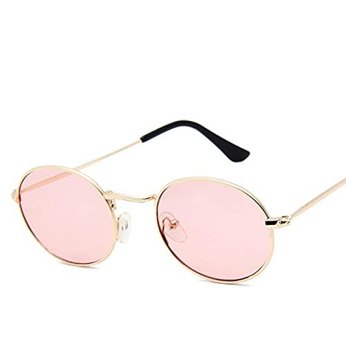 Moda Gafas De Sol Ovaladas para Mujer, Gafas para Hombre, Gafas De Sol De Metal Retro De Lujo para Mujer, Espejo Vintage Uv400 11 Dorado-Rosa