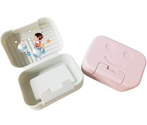 Caja de jabón de viaje, 2 unidades de jabonera con tapa, caja de jabón portátil soporte para jabones para baño/ducha/viaje/al aire libre/acampar - rosa & verde