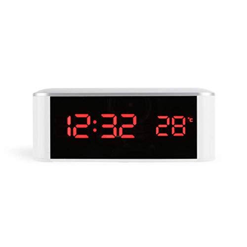 Rinnitt Startseite LED Elektronische Thermometer, Innenthermometer, Mit Uhr Und USB-Kabel, Für Haus, Büro, Gewächshäuser, Wintergarten,Rot