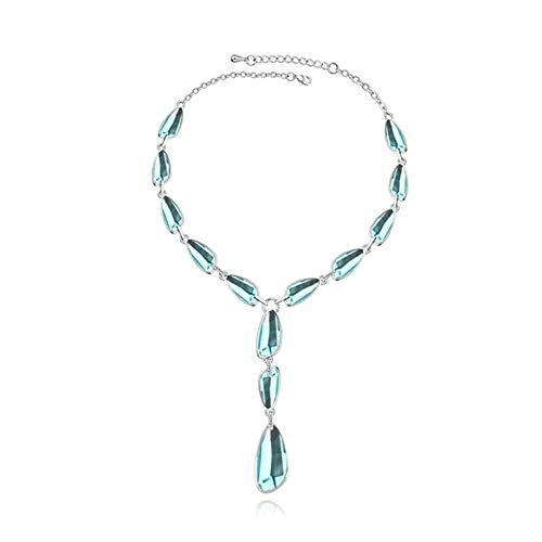 Blisfille Colgante Compromiso Parejas Colgante Mujer Lágrima de Cristal Gargantillas Bisuteria Aleación Joyas de Colgante &Lake Verde