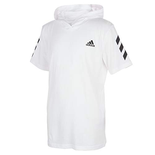 adidas Boys' Big Short Sleeve Hooded T-Shirt, BOS White, Medium