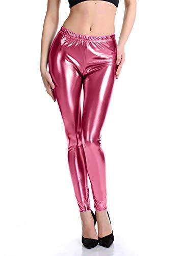 Furein Leggins para Mujer Elásticos Cómodos Acabado Colores Brillantes Metalizados Imitación Cuero con Cintura Elástica (Rosa, L/XL)
