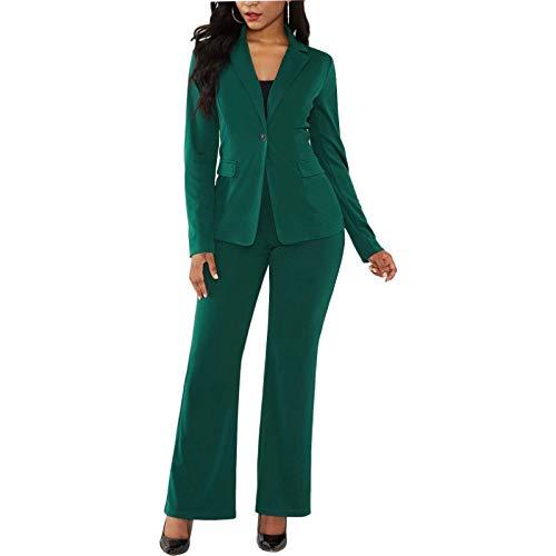 Katenyl Abrigo de traje de color sólido para mujer, ropa de calle a la moda, trabajo de oficina, informal, simplicidad, chaqueta clásica con pantalones XL