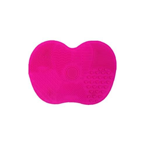 1pc Pinceau De Maquillage Brosse Cosmétique Silicone Tapis Nettoyant Brosse Pad Portable Avec Des Outils D'enlèvement De Poussière Et Sucker Probeauty (rose Rouge)