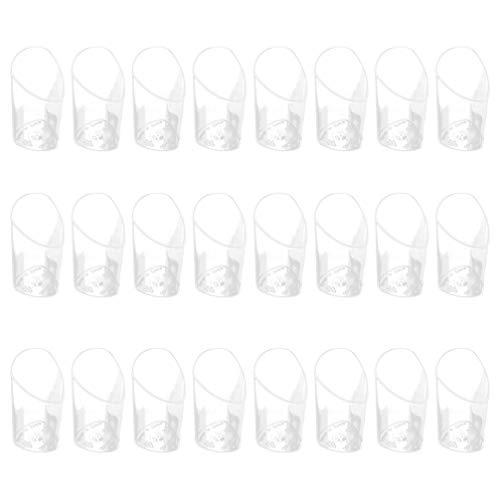 Bestonzon 24 Stück 80 ml transparente Schrägtchen Tiramisu Becher Kunststoff Puddding Becher Einweg-Dessert Behälter für Hochzeit Party Ausstellungen