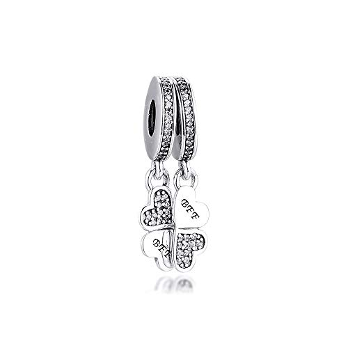 LILANG Pandora 925 Jewelry Bracelet Natural Fits Sterling Silver Best Friends Forever Dangle Charms Clear Cz Beads Making For Adecuado para Mujeres DIY Gift