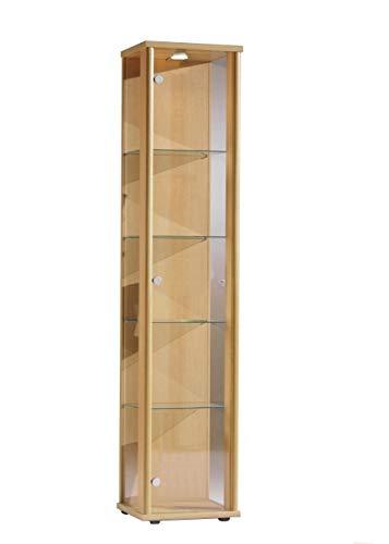 BR-Wohndesign Glasvitrine 176x37x33 cm in Buche mit 4 Glasböden und LED, perfekt für Sammler