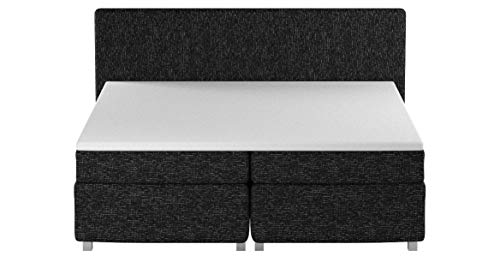 Maintal Boxspringbett Howard, 100 x 200 cm, Strukturstoff, Bonellfederkern Matratze H3, anthrazit