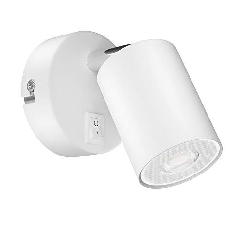 ledscom.de Wandspot WAIKA, à une ampoule, avec interrupteur, GU10, blanche mate, avec 450lm LED GU10 ampoule, blanche