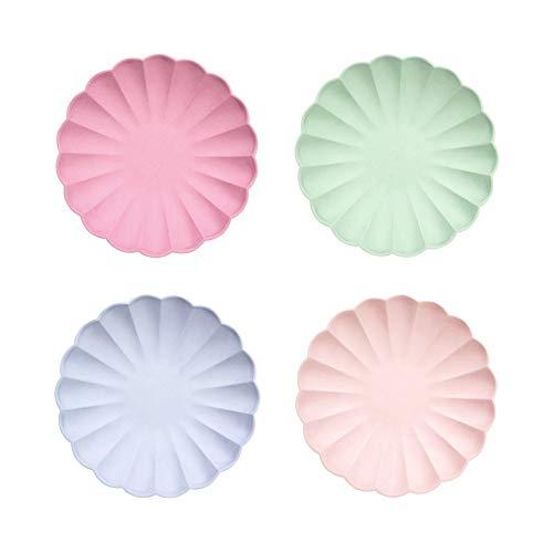 Meri Meri Platos de papel desechables para fiestas de cumpleaños, baby showers, y celebraciones de boda, tamaño pequeño de 19 x 19 cm, 4 colores, paquete de 8 unidades