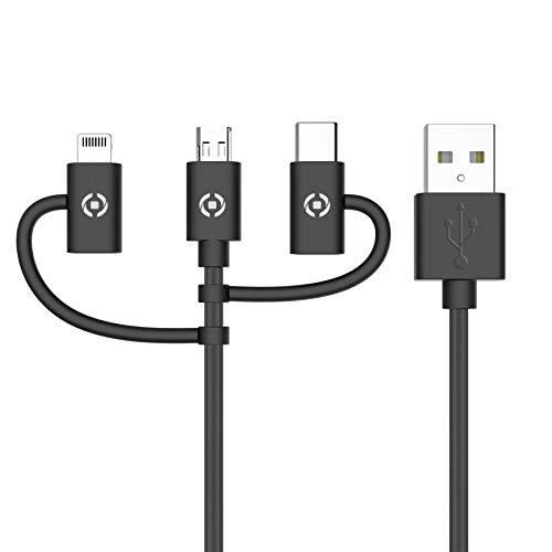 Celly USB3IN1BK – Cable Universal 3 en 1 con Conector Principal Micro USB, Adaptador Lightning (MFI) y Tipo-C, Negro
