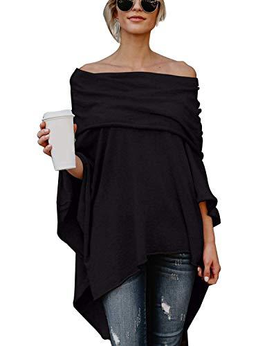 BUOYDM Mujer Camiseta Largos de Mangas Largas de Murciélago Irregular Casual Pullover Camisa Sueltas Tops Negro M