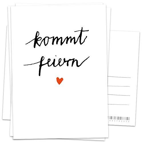 50 Einladungskarten - Kommt feiern! - Weiß Schwarz Rot mit Herz, vielseitige Einladungen für deine Hochzeit, Geburtstag, Jubiläum, Recyclingpapier Postkarten
