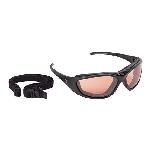PiWear® London Motorradbrille für Brillenträger mit Sehstärke verglasbare Brille schwarz braun getönt Dioptrien Damen Herren Antibeschlag Chopper HD
