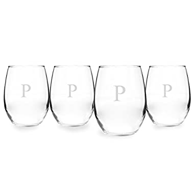 Cathy's Concepts Personalized 21 oz. Stemless White Wine Glasses, Set of 4, Letter P