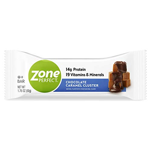 Zone Perfect Protein Bars, Chocolate Caramel Cluster, 14g of Protein, Nutrition Bars with Vitamins & Minerals, Great Taste Guaranteed, 20 Bars