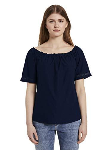 TOM TAILOR Denim Blusen, Shirts & Hemden Carmenbluse Real Navy Blue, S, 10360, 6000
