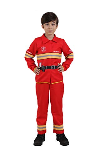 Kids Boys Firefighter Fireman Costume Kids Firefighter Costume Suit Halloween Party Cosplay-Captain(7-9 Year)