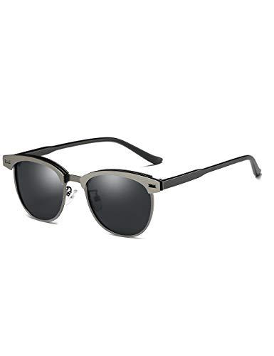 Gafas de sol polarizadas retro clásico semi sin montura para mujer Vintage UV400 protección con funda, gris (Pistola negra templo, lente gris), Medium