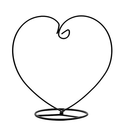 Good Micro Landscape Eco Flaschenhalter Vase Ständer Herzform Luftpflanze Ständer Blumentopf Ständer Halter Eisen Pothook Ständer Hängendes Glas Terrarium (Schwarz)