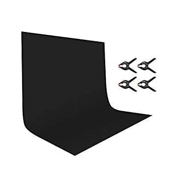 UTEBIT 7x10Ft Black Backdrop with 4 Pack Spring Clamps 2x3M Black Polyester Photo Booth Photography Backgrounds Cloth Sheet Washable for Photoshoot,Video and Televison