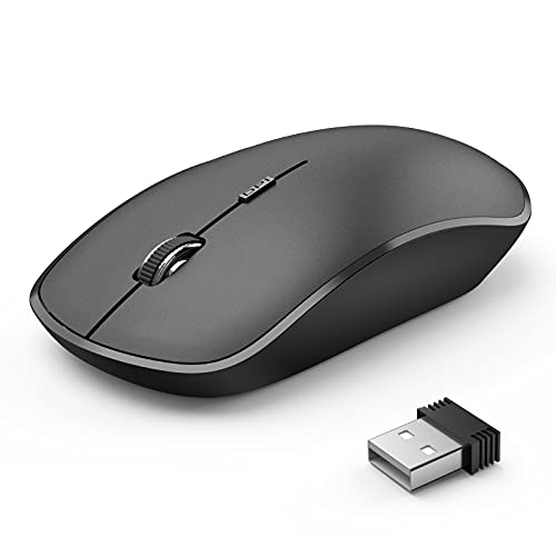 Wireless Mouse for Laptop, JOYACCESS 2.4G Ultra Thin Silent Mouse, with USB Nano 2400 DPI Portable Mobile Optical Cordless Mouse Mice for Laptop, PC, Computer, Mac - Black