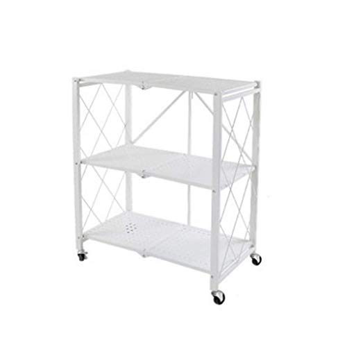 QAQA General Purpose Collapsible Foldable Storage Rack with Wheels, Kitchen Shelves, Folding Shelf for Kitchen Office Library Classroom Home Dedroom, White (Color : White, Size : 71.5 * 36.5 * 87cm)