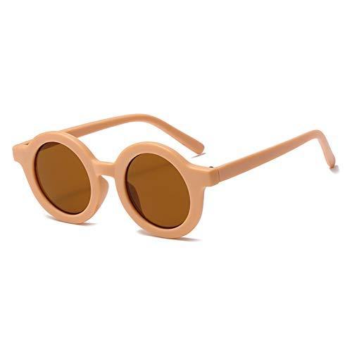 Mtong Gafas de sol redondas para niños, gafas de sol de moda retro para niños, gafas de sol anti rayos UV, gafas de sol vintage coloridas con rayos UV (color: rosa claro tea)