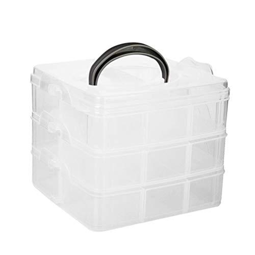 OULII 3 Layers Plastic Craft Storage Box Case Holder Organizer Adjustable 6 x 6 x 2 Inch