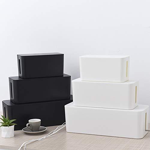 3 Stück Kabelbox Kabel Organizer Kabelkasten Set Kabelmanagement zum Verstauen von Steckdosenleisten Ladeadaptern Kabel Verstecken Schutz Sicherheit von Kindern und Haustieren Weiß