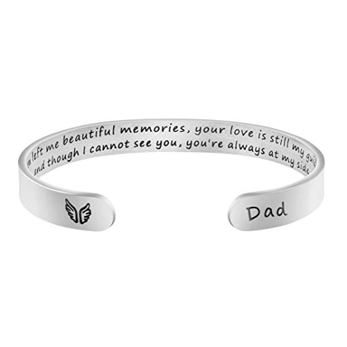 Joycuff in Memory of Gifts for Loss of Dad Father Memorial Jewelry Sympathy Bracelet Secret Message Engraved Grief Bereavement Gifts for Women Girl