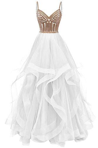 HUINI Ballkleid Lang Elegant Abendkleid Promkleid Tüll Hochzeitskleider Standesamt Cocktail Partykleider Weiß 56