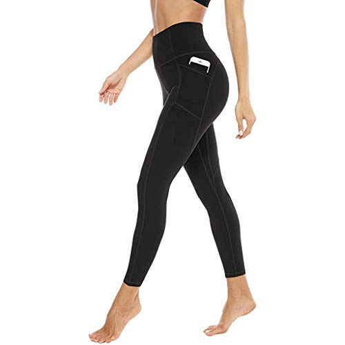 LWWOG Women's High-Waist Yoga Pants With Tight Waist And Hips With Pockets Quick Dry Suitable For A Variety Of Sports Such As Cycling Jogging And Fitness Trousers