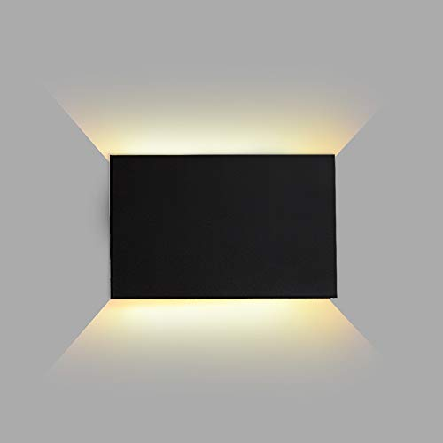 FUDESY LED Wall Sconce,Indoor Outdoor Wall Lights Wall Sconces,Modern Up/Down Black Exterior Plastic Lighting Fixture Lamps for Living Room Bedroom Hallway ,12W 3000K Warm White,FDS2040B1