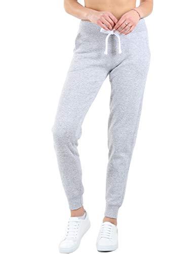 esstive Women's Ultra Soft Fleece Basic Midweight Casual Solid Jogger Pants, Light Heather Grey, Medium