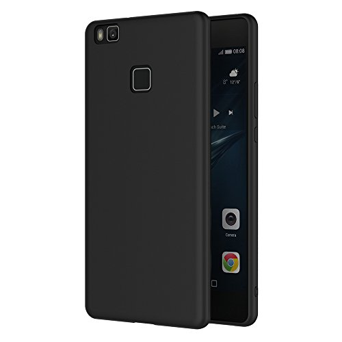 AICEK Cover per Huawei P9 Lite, Cover P9 Lite Nero Silicone Case Molle di TPU Sottile Custodia per Huawei P9 Lite