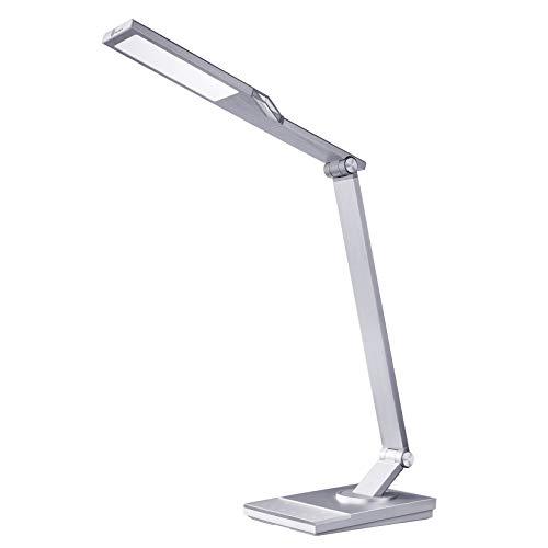 TaoTronics Schreibtischlampe aus Aluminium mit 5 Bühnenmodi und 6 Helligkeitsstufen, 12 W, verstellbar, Timer-Funktion und Speicher mit USB-Port zum Aufladen von Smartphones – Silber