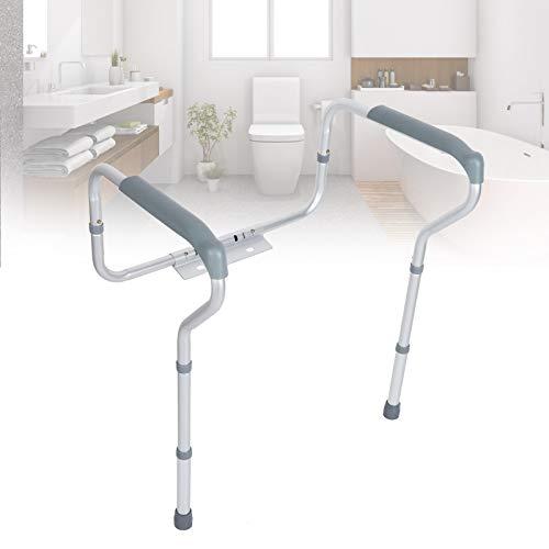 FTVOGUE- Apoyabrazos WC Baño para Mayores, Barandilla Inodoro Minusvalidos, Estructura de Apoyo para Inodoro, Altura Ajustable Rodamiento 135kg ⭐
