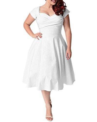 ABYOXI Damen Vintage A-Linie 50er Retro Rockabilly Kleid Knielang Abendkleid Große Größen (4XL, Weiß)
