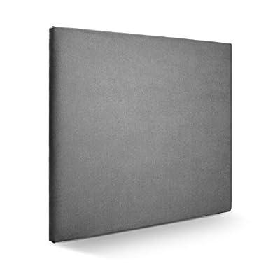Cabecero tapizado acolchado para dormitorios con estructura en madera de pino Cabecero de cama acolchado con espumación HR Cabecero tapizado en tela antimanchas/polipiel Para camas de 150 (160 x 120 cm) tela gris