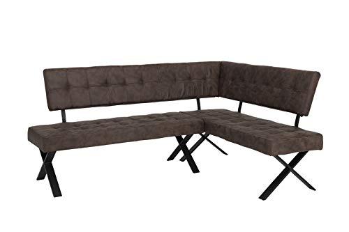 Eckbank DONNA LEB 2 x 1,5 m , Bezug Vintage Braun, Metall-X-Gestell