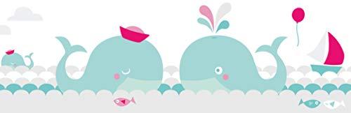 lovely label Bordüre selbstklebend WALE Mint/GRAU/PINK - Wandbordüre Kinderzimmer/Babyzimmer mit Walen im Meer in versch. Farben - Wandtattoo Schlafzimmer Mädchen und Junge – Wanddeko Baby/Kinder