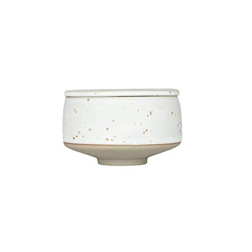 OYOY Living Design Hagi Sugar Bowl - Zuccheriera in porcellana con coperchio, diametro 8 cm, lavabile in lavastoviglie, Ceramica, bianco/marrone chiaro., Durchmesser 8 cm, Höhe 5 cm