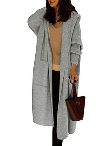 ORANDESIGNE Grau Taschen Mit Kapuzen Lässige Cardigan Damen Oversize Strickjacke Lang Mantel XL