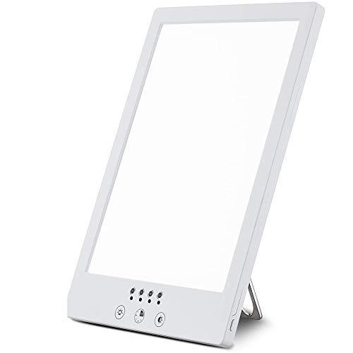 Aogled Tageslichtlampe 10000 Lux Natürliches Sonnenlicht LED Leuchtkasten Tragbar Kompakt Einstellbare Farbtemperatur,Helligkeit mit Timer,LED-Spektrum Anti Winterdepression,Schlafstörung