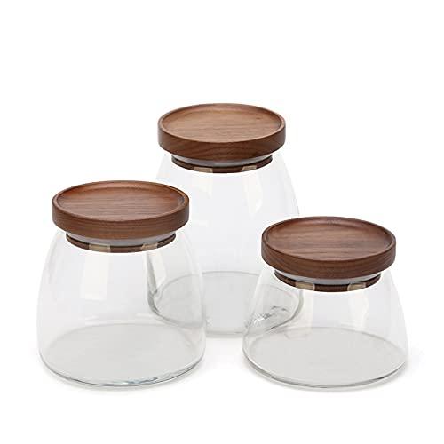 OMKMNOE Embalse de Vidrio con Tapa de Madera de Nuez, Reservorio para Comida té café Galletas de Tanque de alejos de azúcar Botella de Sal de Nuez de Almacenamiento de Vidrio,Clear